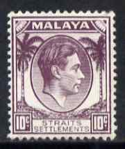 Malaya - Straits Settlements 1937-41 KG6 10c dull purple lightly mounted mint SG 284