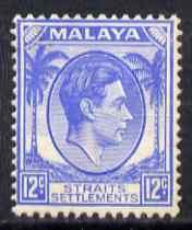 Malaya - Straits Settlements 1937-41 KG6 12c ultramarine slightly disturbed gum SG 285