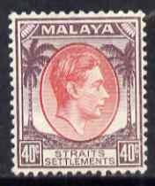 Malaya - Straits Settlements 1937-41 KG6 40c scarlet & dull purple lightly mounted mint SG 288