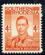 Southern Rhodesia 1937 KG6 def 4d red-orange unmounted mint, SG45