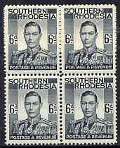 Southern Rhodesia 1937 KG6 def 6d grey-black block of 4 unmounted mint, SG44, stamps on , stamps on  kg6 , stamps on