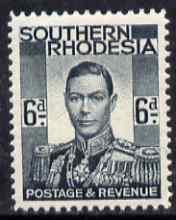 Southern Rhodesia 1937 KG6 def 6d grey-black unmounted mint, SG44
