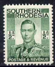 Southern Rhodesia 1937 KG6 def 1/2d green unmounted mint, SG40