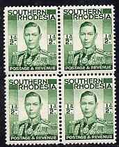 Southern Rhodesia 1937 KG6 def 1/2d green block of 4 unmounted mint, SG40