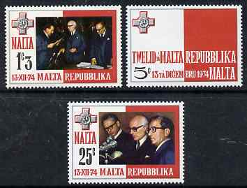 Malta 1975 Inauguration of Republic set of 3 unmounted mint, SG 536-8