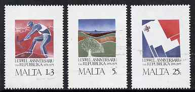 Malta 1975 First Anniversary of Republic set of 3 unmounted mint, SG 552-4