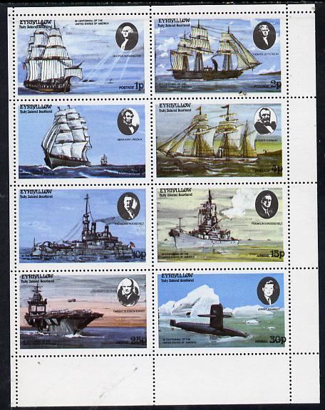 Eynhallow 1976 USA Bicentenary (Ships & US Presidents) perf  set of 8 values unmounted mint