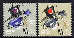 Malta 1966 Trade Fair 2s6d with gold printing misplaced (X appears over Trade Fair) plus 8d as normal, both unmounted mint, SG 375var