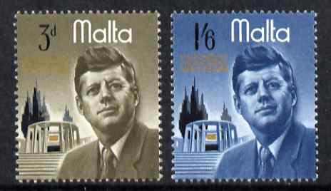 Malta 1966 President Kennedy Commemoration set of 2 unmounted mint, SG 371-2