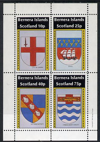 Bernera 1981 Heraldry #1 (City of London, Paris, LCC & Sir John Fastolfe) perf  set of 4 values (10p to 75p) unmounted mint