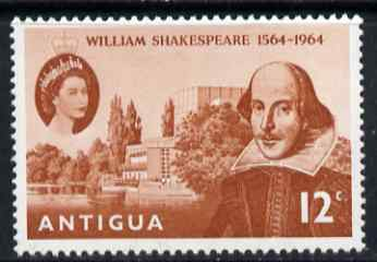 Antigua 1964 400th Birth Anniversary of Shakespeare 12c unmounted mint SG 164