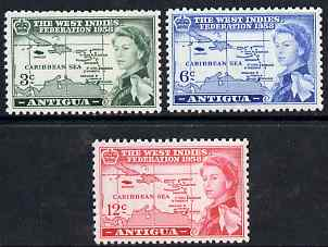 Antigua 1958 British Caribbean Federation set of 3 unmounted mint SG 135-7