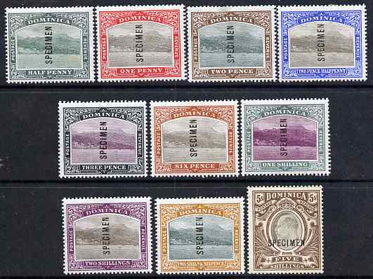 Dominica 1903 Roseau set complete overprinted SPECIMEN, mounted mint with gum and only about 400 sets produced, SG 27s-36s