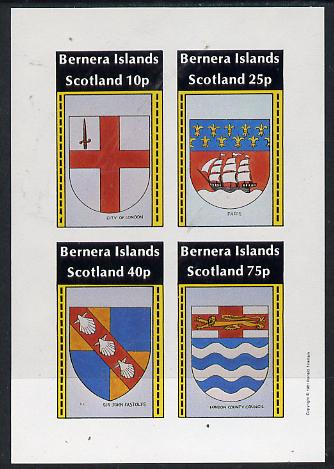 Bernera 1981 Heraldry #2 (City of London, Paris, LCC & Sir John Fastolfe) imperf  set of 4 values (10p to 75p) unmounted mint