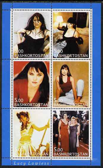 Bashkortostan 2000 Lucy Lawless perf sheetlet containing 6 values unmounted mint