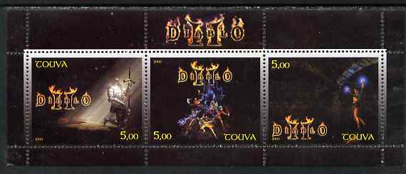 Touva 2000 Diablo perf sheetlet containing 3 values unmounted mint, stamps on fantasy, stamps on sci-fi