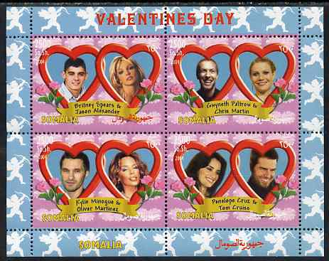 Somalia 2004 Valentines Day perf sheetlet containing 4 values unmounted mint