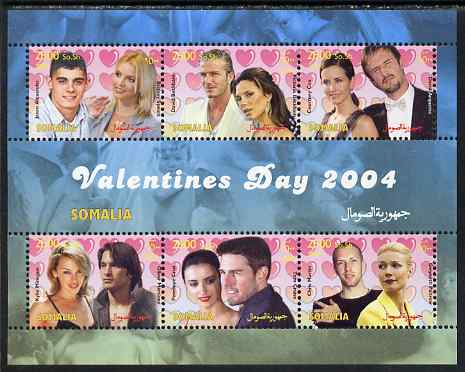 Somalia 2004 Valentines Day perf sheetlet containing 6 values unmounted mint