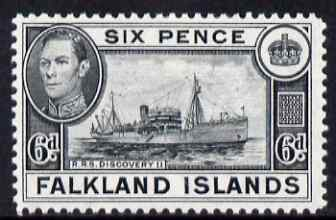 Falkland Islands 1938-50 KG6 Discovery II (Supply Ship) 6d black mounted mint, SG 156