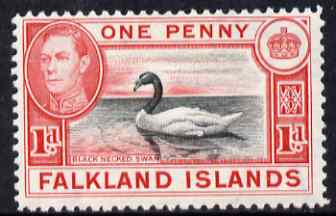 Falkland Islands 1938-50 KG6 Black-necked Swan 1d black & carmine mounted mint, SG 147