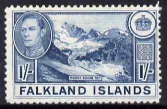 Falkland Islands 1938-50 KG6 Mount Sugar Top 1s dull blue mounted mint, SG 158b