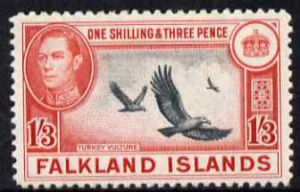 Falkland Islands 1938-50 KG6 Turkey Vultures 1s3d mounted mint, SG 159