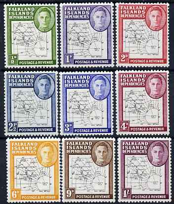 Falkland Islands Dependencies 1946-49 KG6 Thin Maps complete set of 9 mounted mint SG G9-16