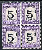 South West Africa 1927 Postage Due 5d black and violet block of 4 (2 se-tenant pairs) unmounted mint SG D33