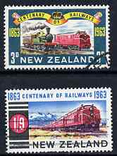 New Zealand 1963 Railway Centenary perf set of 2 commercially used, SG 818-19