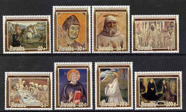 Rwanda 1981 1500th Birth Anniversary of St Benedict perf set of 8 unmounted mint, SG 1065-72