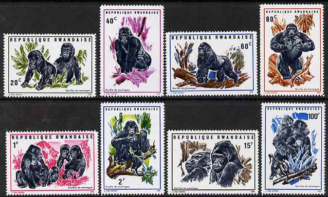 Rwanda 1970 Gorillas of the Mountains perf set of 8 unmounted mint, SG 369-76
