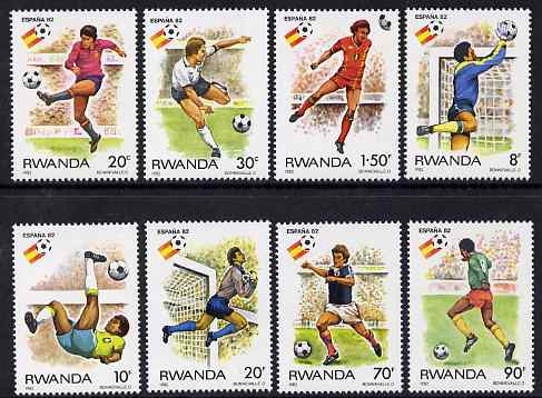 Rwanda 1982 Football World Cup perf set of 8 unmounted mint, SG 1109-16, stamps on football