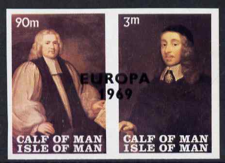 Calf of Man 1969 Europa overprinted on Paintings from Manx Museum #3 imperf set of 2 with superb set-off on gummed  sifde unmounted mint (Rosen CA149a-50a)