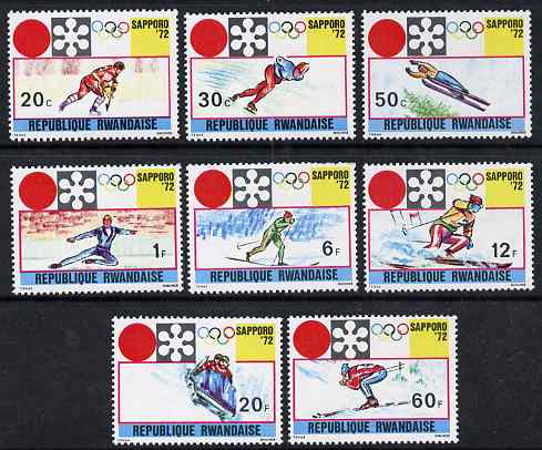 Rwanda 1972 Sapporo Winter Olympic Games perf set of 8 values unmounted mint, SG 448-55