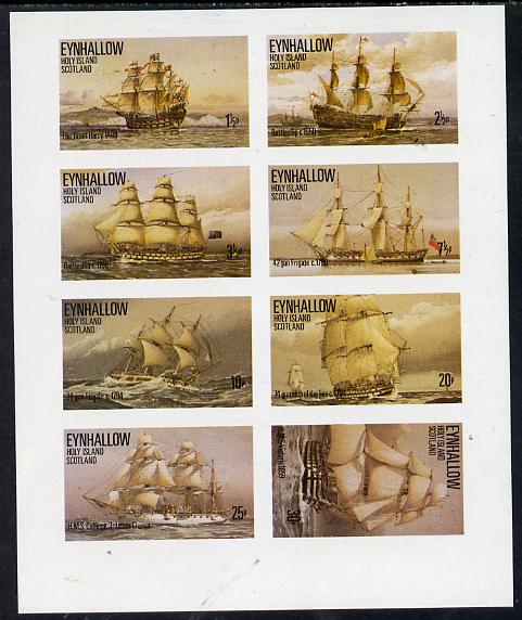 Eynhallow 1977 Tall Ships (Gun Frigate, Great Harry etc) imperf  set of 8 values unmounted mint