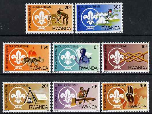 Rwanda 1982 75th Anniversary of Scouting perf set of 8 unmounted mint, SG 1141-50