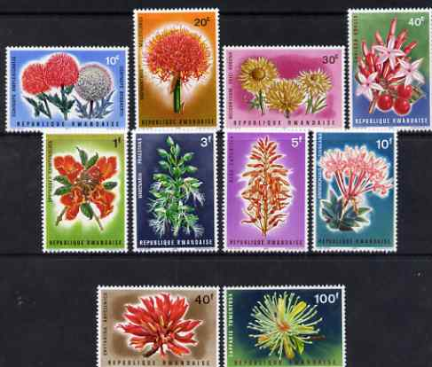 Rwanda 1966 Flowers perf set of 10 unmounted mint, SG 148-57