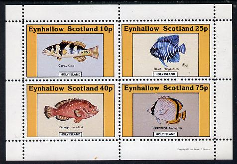 Eynhallow 1981 Fish #01 (Coral Cod, Angelfish, Rock Cod & Coralfish) perf  set of 4 values (10p to 75p) unmounted mint, stamps on fish     marine-life