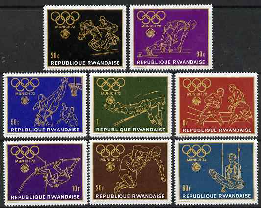 Rwanda 1971 Munich Olympic Games (1st issue) perf set of 8 values unmounted mint, SG 424-31