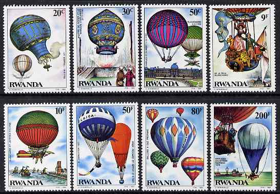 Rwanda 1984 Bicentenary of manned Flight perf set of 8 values unmounted mint, SG 1194-1201