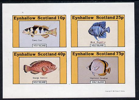 Eynhallow 1981 Fish #01 (Coral Cod, Angelfish, Rock Cod & Coralfish) imperf  set of 4 values (10p to 75p) unmounted mint