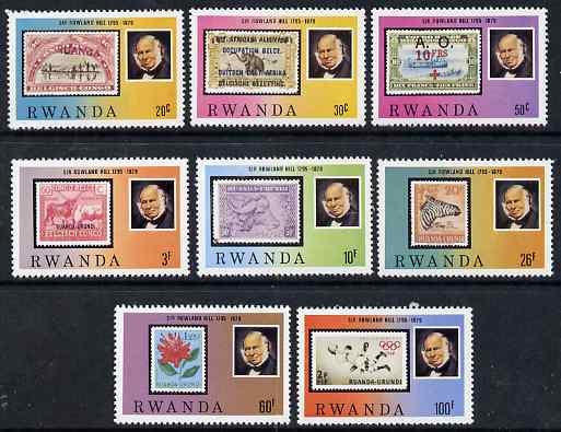 Rwanda 1979 Death Centenary of Sir Rowland Hill perf set of 8 unmounted mint, SG 956-63