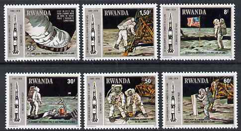 Rwanda 1980 Tenth Anniversary of Apollo 11 Moon Landing perf set of 6 unmounted mint, SG 964-9