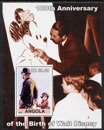 Angola 2002 Birth Centenary of Walt Disney #05 perf s/sheet - Charlie Chaplin & Disney drawing Mickey Mouse unmounted mint