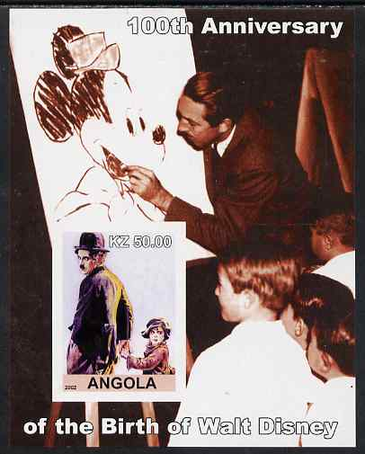 Angola 2002 Birth Centenary of Walt Disney #05 imperf s/sheet - Charlie Chaplin & Disney drawing Mickey Mouse unmounted mint