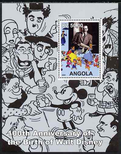 Angola 2001 Birth Centenary of Walt Disney #03 perf s/sheet - Disney & charactures incl Charlie Chaplin, unmounted mint