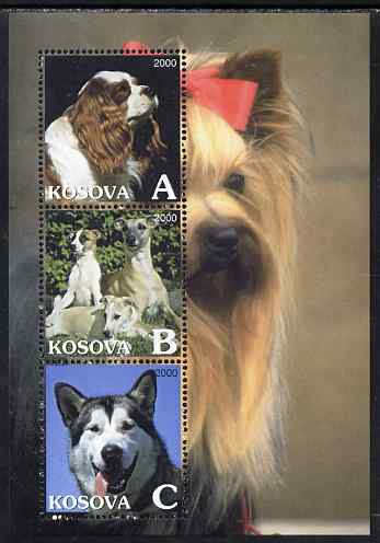 Kosova 2000 Dogs perf sheetlet containing set of 3 values unmounted mint