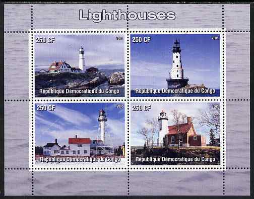 Congo 2005 Lighthouses perf sheetlet containing 4 values unmounted mint