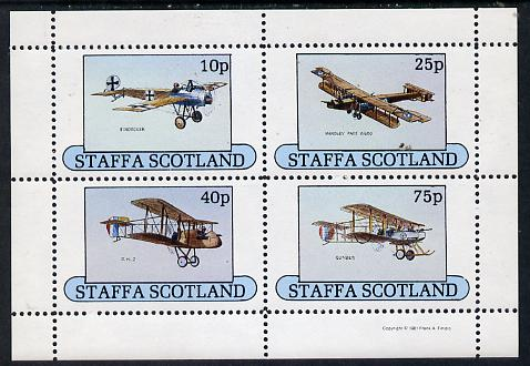 Staffa 1981 Early Aircraft #1 (Eindecker, Handley Page, Gunbus & DH2) perf  set of 4 values unmounted mint