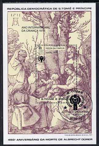 St Thomas & Prince Islands 1979 IYC - Engraving by Durer perf s/sheet fine cto used